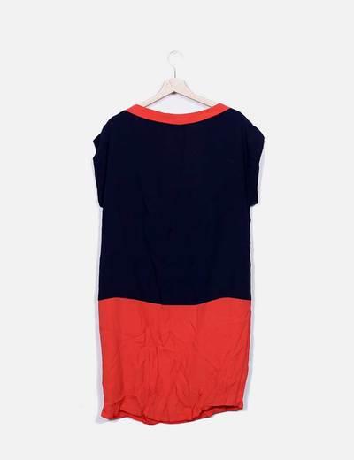 Vestido manga corta bicolor