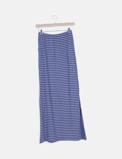 Falda rayas bicolor con abertura