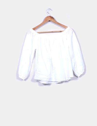 Blusa de manga francesa blanca calada