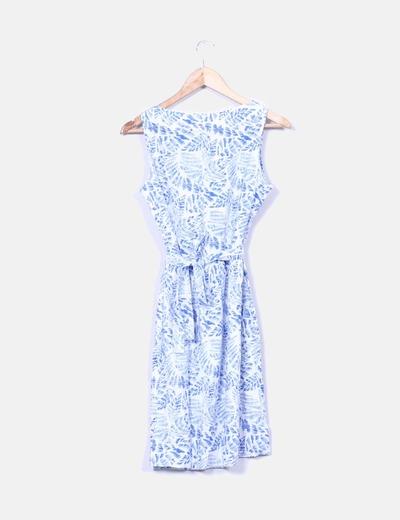 Vestido azul y blanco estampado