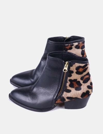 Botín combinado negro con estampado de leopardo Alpe