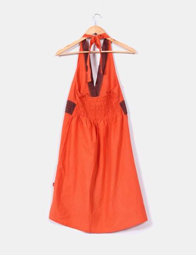 Vestido naranja y marron con estampado y lentejuelas