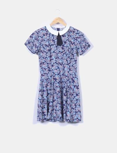 Vestido azul floral con solapas Asos