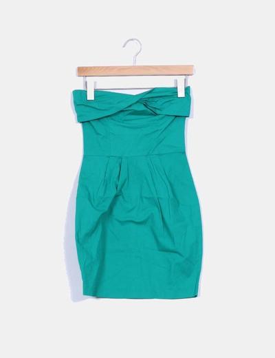 Vestido verde palabra de honor Suiteblanco
