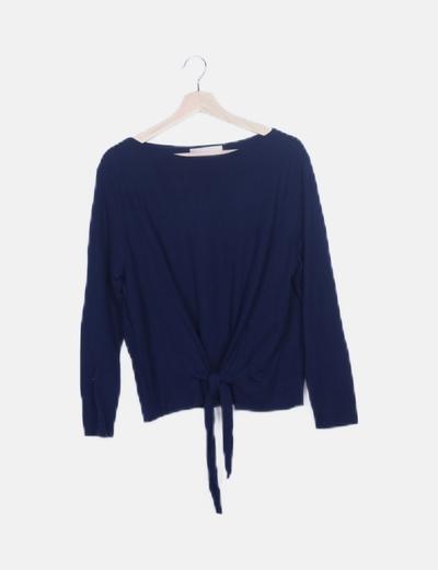 Jersey tricot azul marino lace up