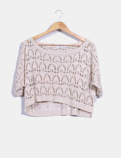 Top en crochet beige Suiteblanco