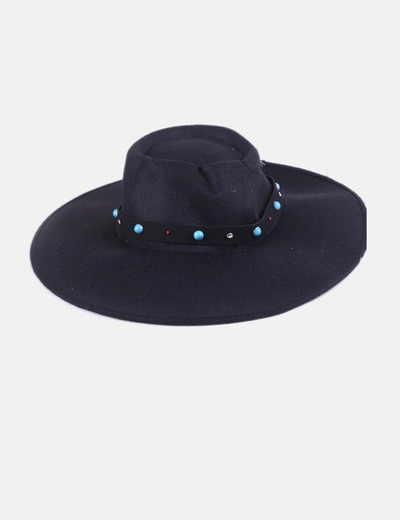 Sombrero negro tira con abalorios