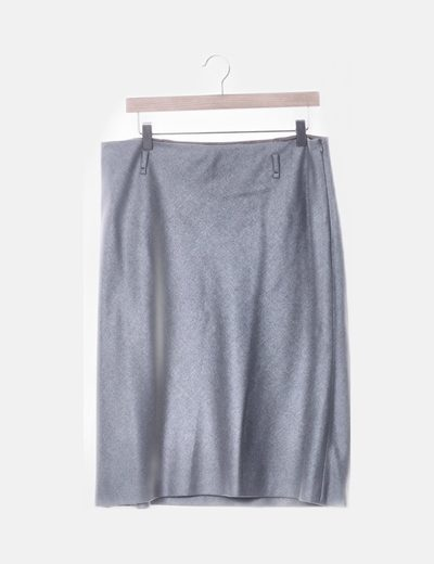 Falda gris de lana