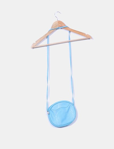 Bolso circular azul texturizado