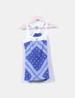 Camiseta azul canalé estampado escote guipur blanco Bershka