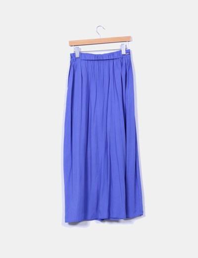 Maxi falda azul detalle cremalleras