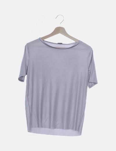 Camiseta gris satinada manga corta