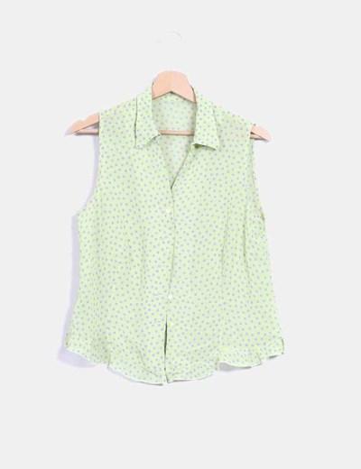 Camisa verde pistacho con topos NoName
