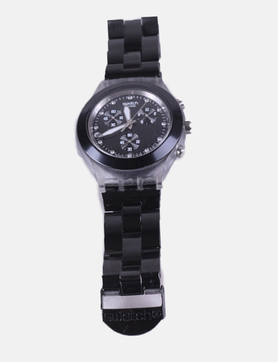 Black metal watch combined Swatch