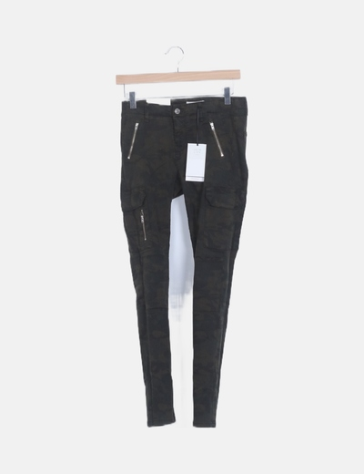 Jeans denim militar pitillo