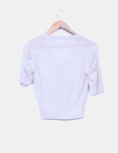 Chaqueta manga corta tricot gris