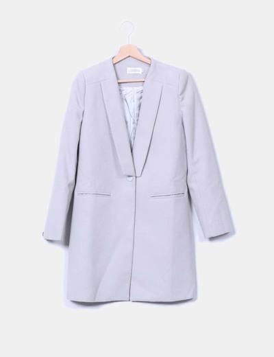 Abrigo gris claro escote caja con solapas LIONESS