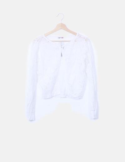 Cardigan encaje blanco manga larga