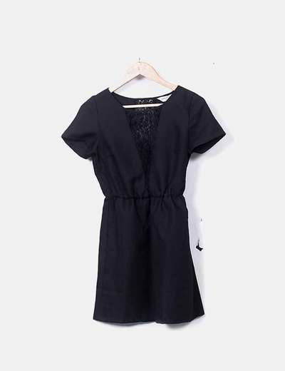 Vestido negro combinado encaje