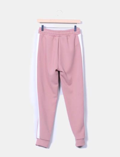Pantalon jogging rosa empolvado con raya lateral
