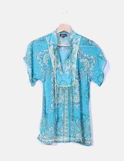 Blusa turquesa estampado cachemira Suiteblanco