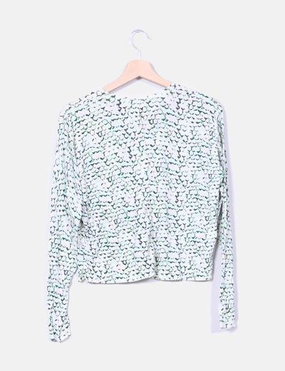 Sueter tricot beige estampado verde