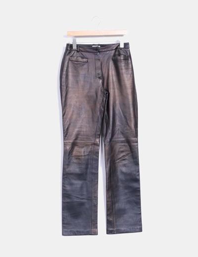 Pantalón marrón de piel Tintoretto