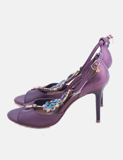 Zapatos irisados morados con strass