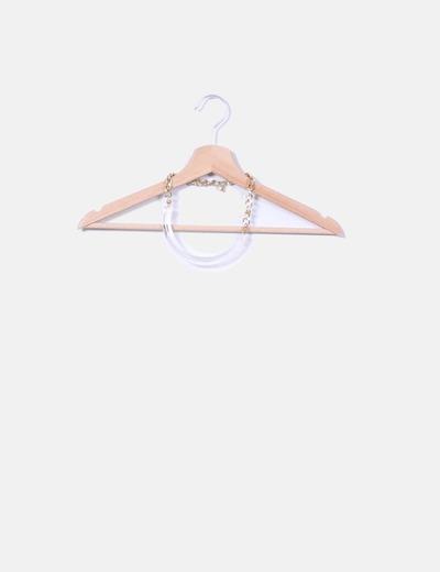 Collar de cadena dorada con detalle transparente Pull&Bear