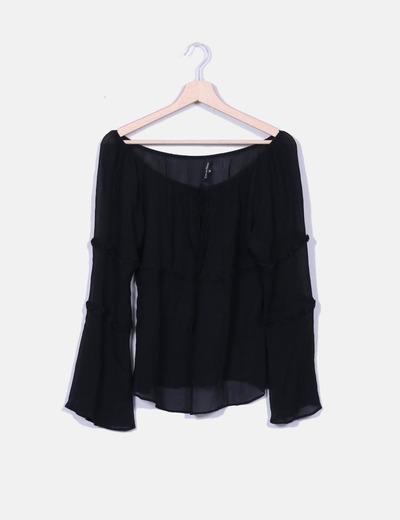 Blusa negra de gasa semitransparente Pedro del Hierro