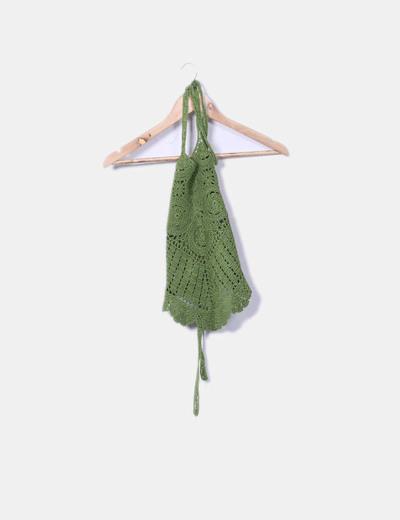 Crop top verde crochet Buka