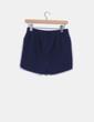 Shorts fluido azul marino bordado VILA