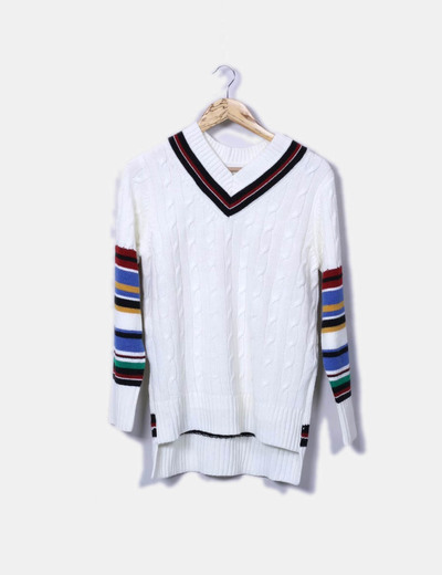 Pull blanc en maille rayé lm