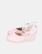 Sandales roses pâles en forme de coin de tissu Tex Woman
