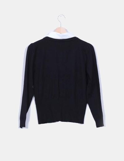 Jersey negro efecto doble pieza