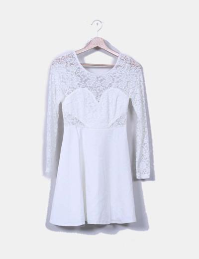 Vestido blanco con encaje  NoName