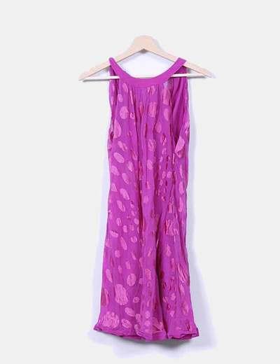 Vestido rosa fucsia con lunares Cortefiel