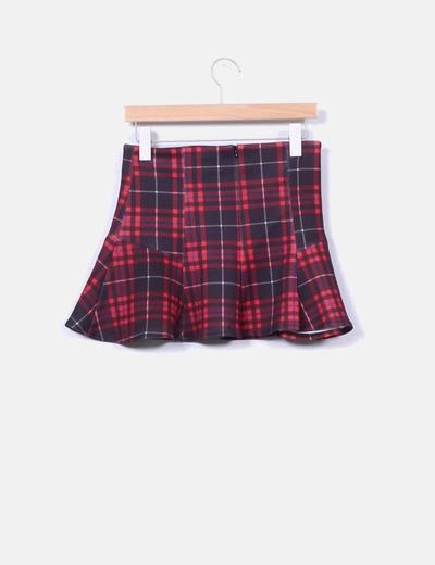 Mini falda neopreno tartan rojo con volante