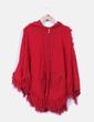 Poncho de rizo rojo con capucha HOO RAY