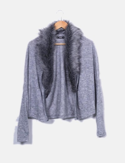 Jacket knitted gray fur SheIn