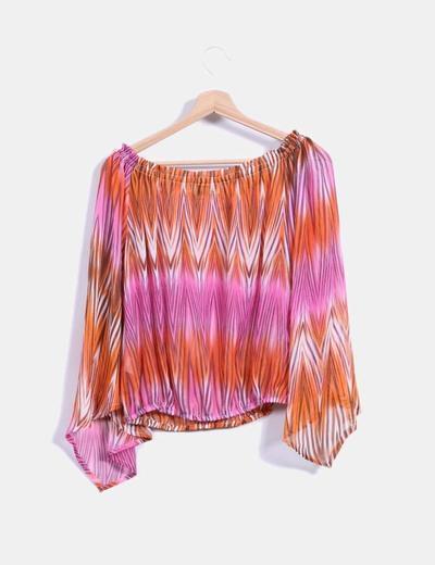 Blusa en gasa multicolor