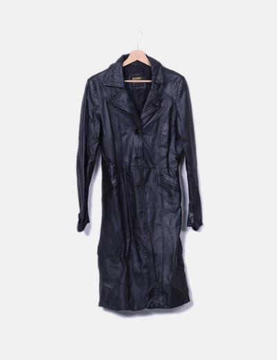 Trench noir coat en cuir Bershka