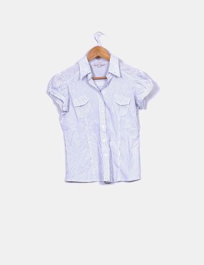 Camisa blanca de raya diplomática azul
