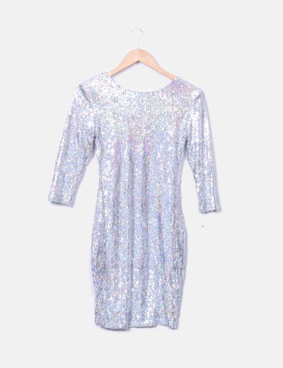 Silver dress with pailettes with back neckline NoName