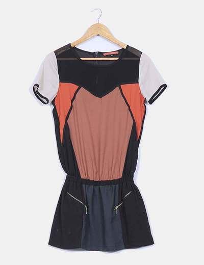 Vestido combinado manga corta Bershka