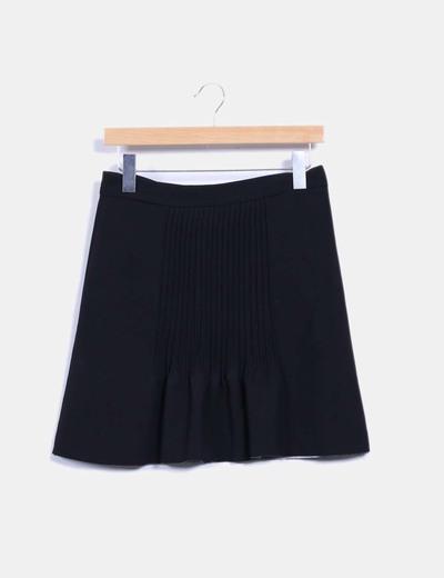 Falda midi negra drapeada Bimba&Lola