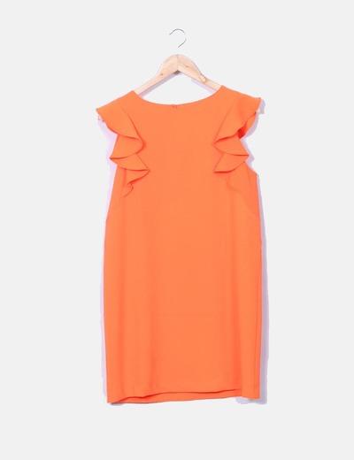 Robe orange à volants fluor Easy Wear