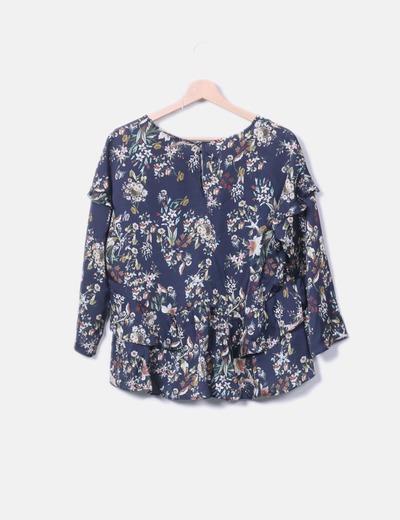 9457ff44a VIOLETA Blusa azul de flores con volantes (descuento 66%) - Micolet