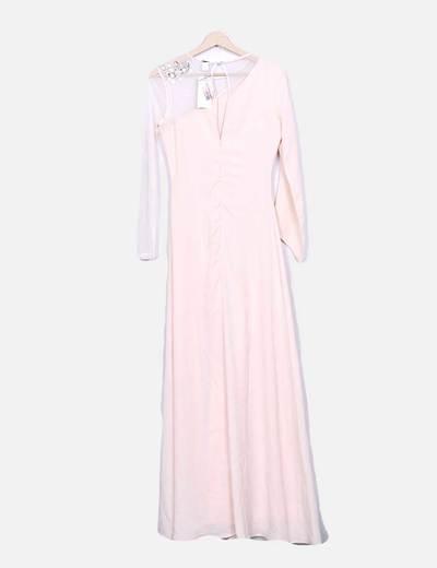 Maxi vestido fluido rosa palo con malla