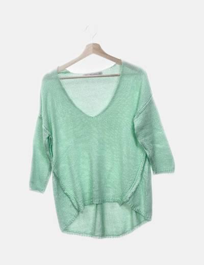 Jersey tricot verde cuello pico